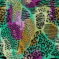 Abstract seamless pattern with animal print. Trendy hand drawn textures.