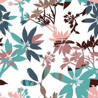 Abstracte bloemen naadloze patroonsilhouetten van bladeren en artistieke achtergrond.