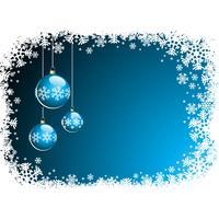 Vector a ilustração do Natal com a bola de vidro e os flocos de neve azuis.