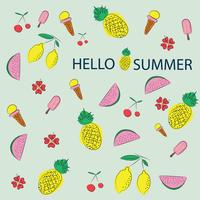 Vector summer pattern background with fruits and floral elements