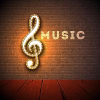 Music illustration with violin key on brick wall background