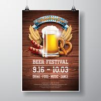 Oktoberfest poster vector illustration with fresh lager beer on wood texture background.