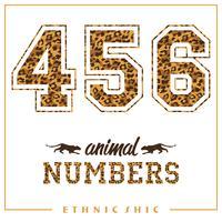 Números animais vetor para camisetas, cartazes, cartões e outros usos.