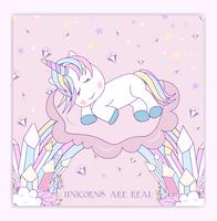 Beautiful unicorn on clouds with stars illustration