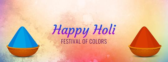 Abstract Happy Holi colorful festival banner design