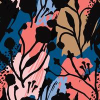 Abstract floral naadloze patroon met trendy hand getrokken texturen.