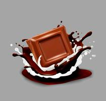 Chocolade in splash. Vector illustratie.