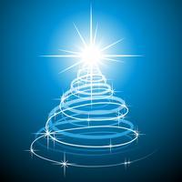 Ilustração de Natal com árvore abstrata sobre fundo azul.
