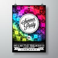 Vector Summer Beach Party Flyer Design with typographic elements