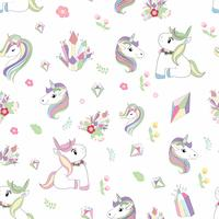Unicorn, diamond, &  flower seamless pattern vector