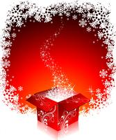 Christmas illustration with gift boxes on red background