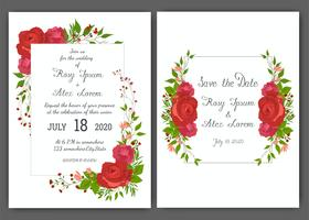 Floral hand drawn frame for a wedding invitation