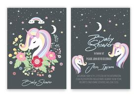 Unicorn floral unicorn decor card baby shower