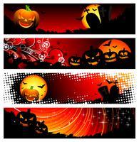 banner de cuatro vectores en un tema de halloween