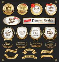 Retro gouden etiketten en badges vectorinzameling