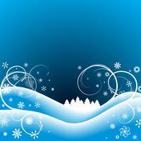 Ilustración de Navidad con el árbol sobre fondo azul