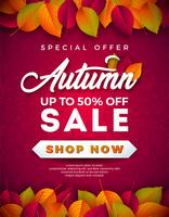 Autumn Sale Design with Falling Leaves and Lettering