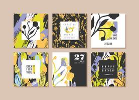 Set av abstrakta kreativa kort. Handritad konst konsistens och blommiga element.