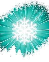 Vektor-Weihnachtsillustration mit Schneeflocke auf blauem Hintergrund.