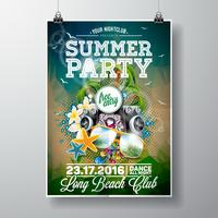 Vector Summer Beach Party Flyer Design with typographic and music elements