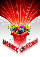 Illustrazione di Natale con scatola regalo magico su sfondo bianco.