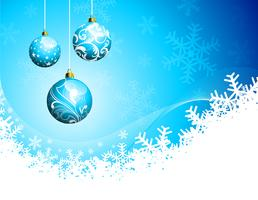 Christmas illustration with glass balls on blue background.