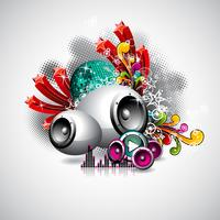 Abstract vector shiny background with speaker and design elements.