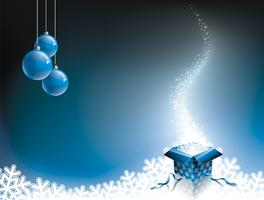 Vector Christmas illustration with gift box on blue background