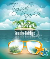 Vector Summer Holiday Flyer Design with palm trees and Paradise Island on clouds background.
