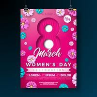Women's Day Party Flyer Illustration med blommor på rosa bakgrund.