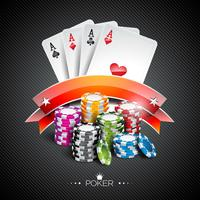 Vector illustration on a casino theme with color playing chips and poker cards