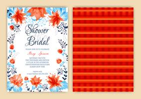 Floral Frame Bridal Shower Invitation eller Weedding kort