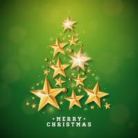Christmas and New Year illustration with Christmas Tree Shape