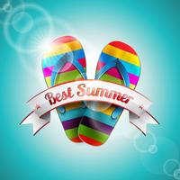 Vector Summer Holiday Design with slipper and ribbon on blue sea background.