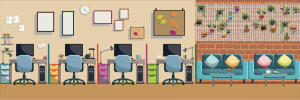Modern Office Interior arbetsplats och koppla av plats, platt vektor illustration