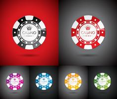 Vector la ilustración en un tema del casino con jugar las virutas fijadas.