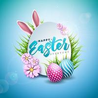 Ilustración vectorial de felices vacaciones de Pascua con huevo pintado