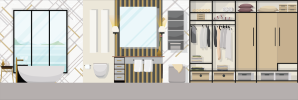 Luxury modern bathroom interior with furniture, Flat design vector illustration