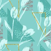 Abstract floral seamless pattern with tulips and geometric elements.
