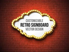 Retro signboard or lightbox illustration  on brick wall background