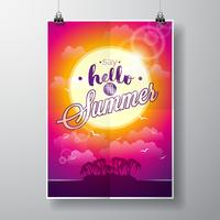 Say Hello to Summer inspiration quote on seascape background.
