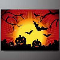 vector illustration on a Halloween theme with pumpkin