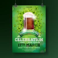 St. Patrick's Day Party Flyer Illustration with Fresh Dark Beer