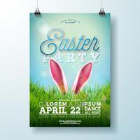 Vector Easter Party Flyer Ilustração com orelhas de coelho e grama verde