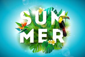 Summer illustration with toucan bird & tropical flowers