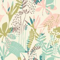 Abstract floral seamless pattern with trendy hand drawn textures.