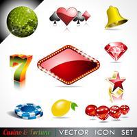 Vektor ikon samling på ett kasino och förmögenhet tema.