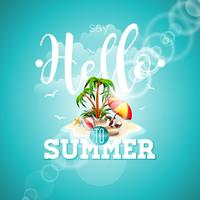 Say Hello to Summer inspiration quote paradise island on blue background.