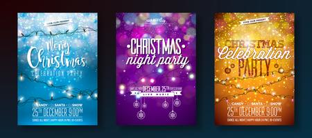 Merry Christmas Party Flyer Set with Light Garlands