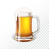 Illustration with fresh lager beer in a beer mug on transparent background